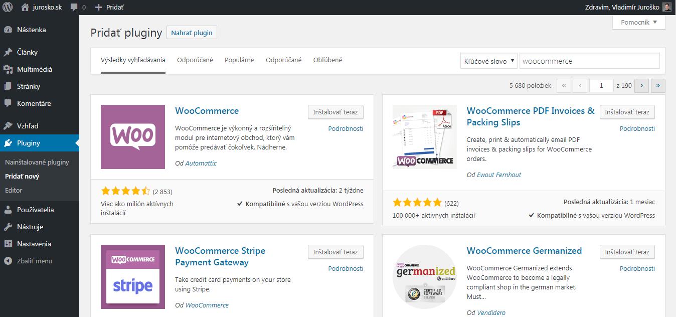 Inštalácia pluginu WooCommerce