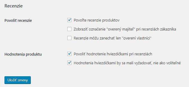 WooCommerce nastavenie recenzií a hodnotenia