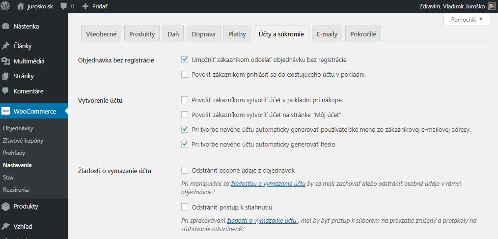 WooCommerce nastavenia účtov a súkromia