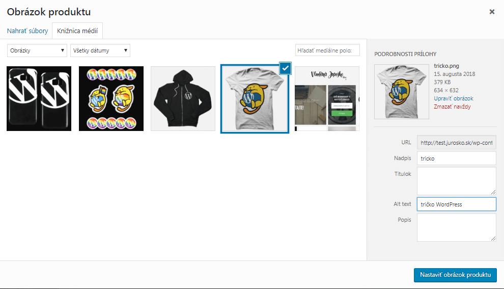 WooCommerce vloženie obrázka produktu