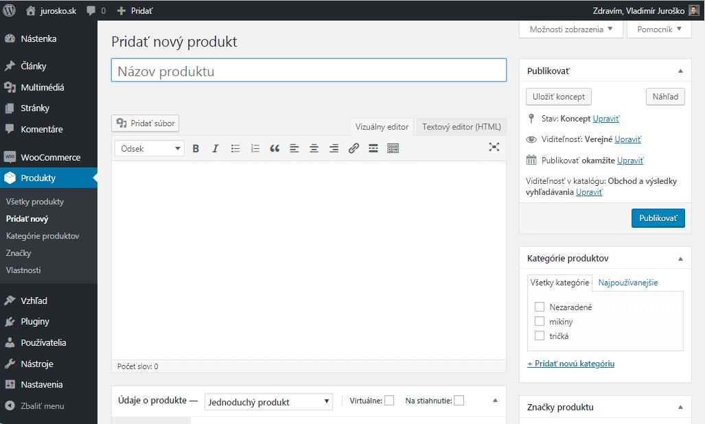 WooCommerce pridanie produktu