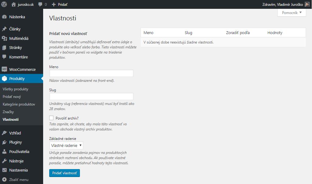 WooCommerce vytvorenie vlastnosti produktu