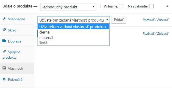 WooCommerce priradenie vlastnosti produktu