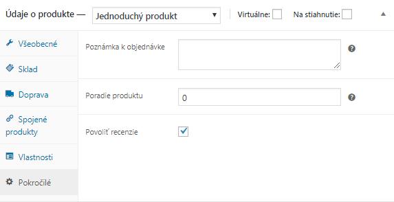 WooCommerce údaje o produkte pokročilé