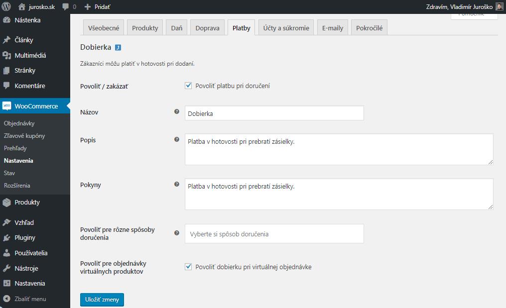 WooCommerce úprava platby na dobierku
