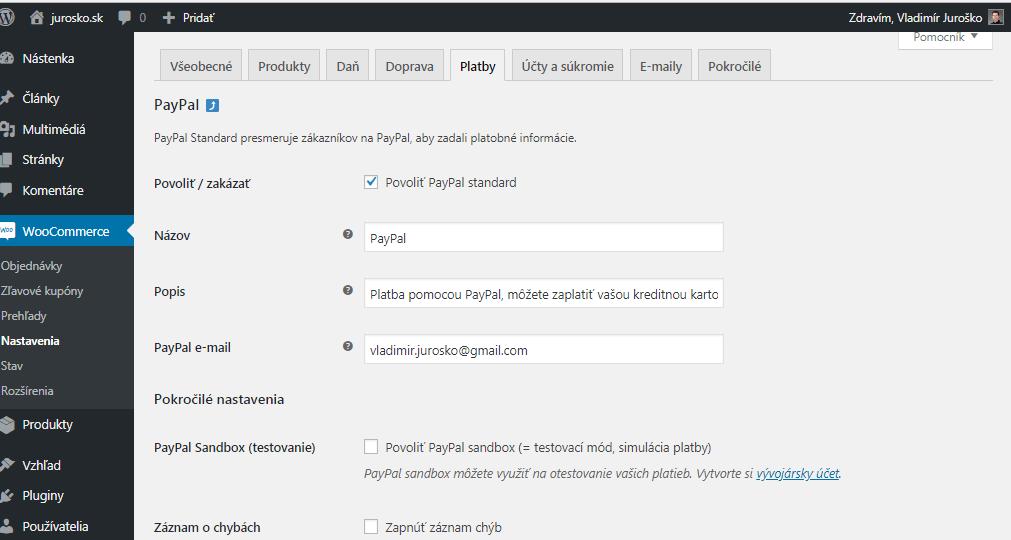 WooCommerce úprava platby cez PayPal