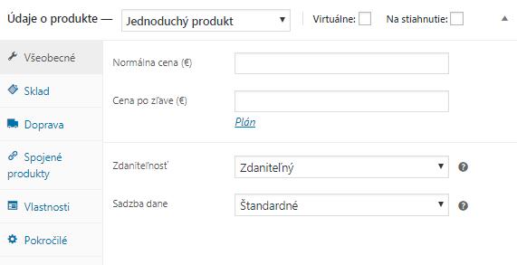 WooCommerce všeobecné údaje o produkte