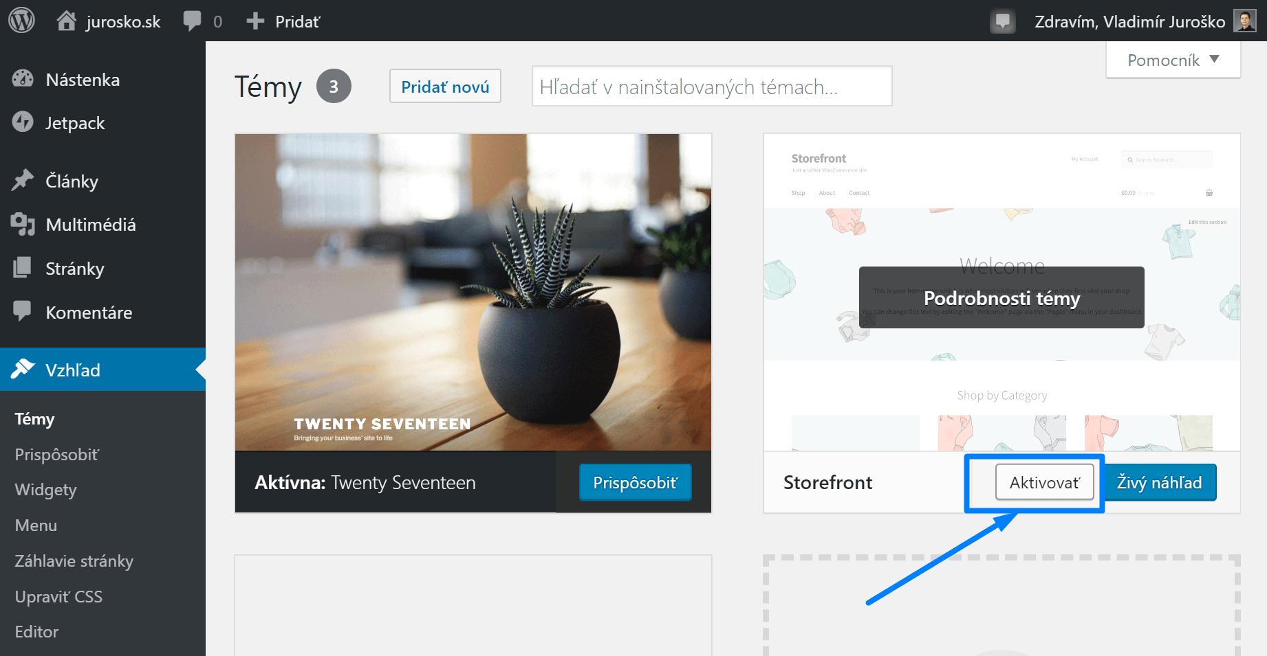 Ako aktivovať WordPress šablónu