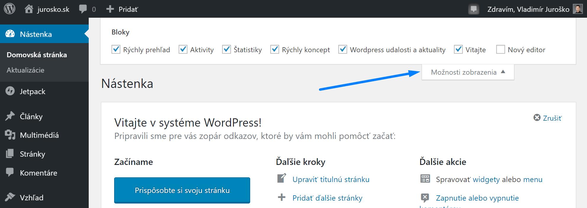 WordPress možnosti zobrazenia