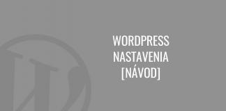 WordPress nastavenia