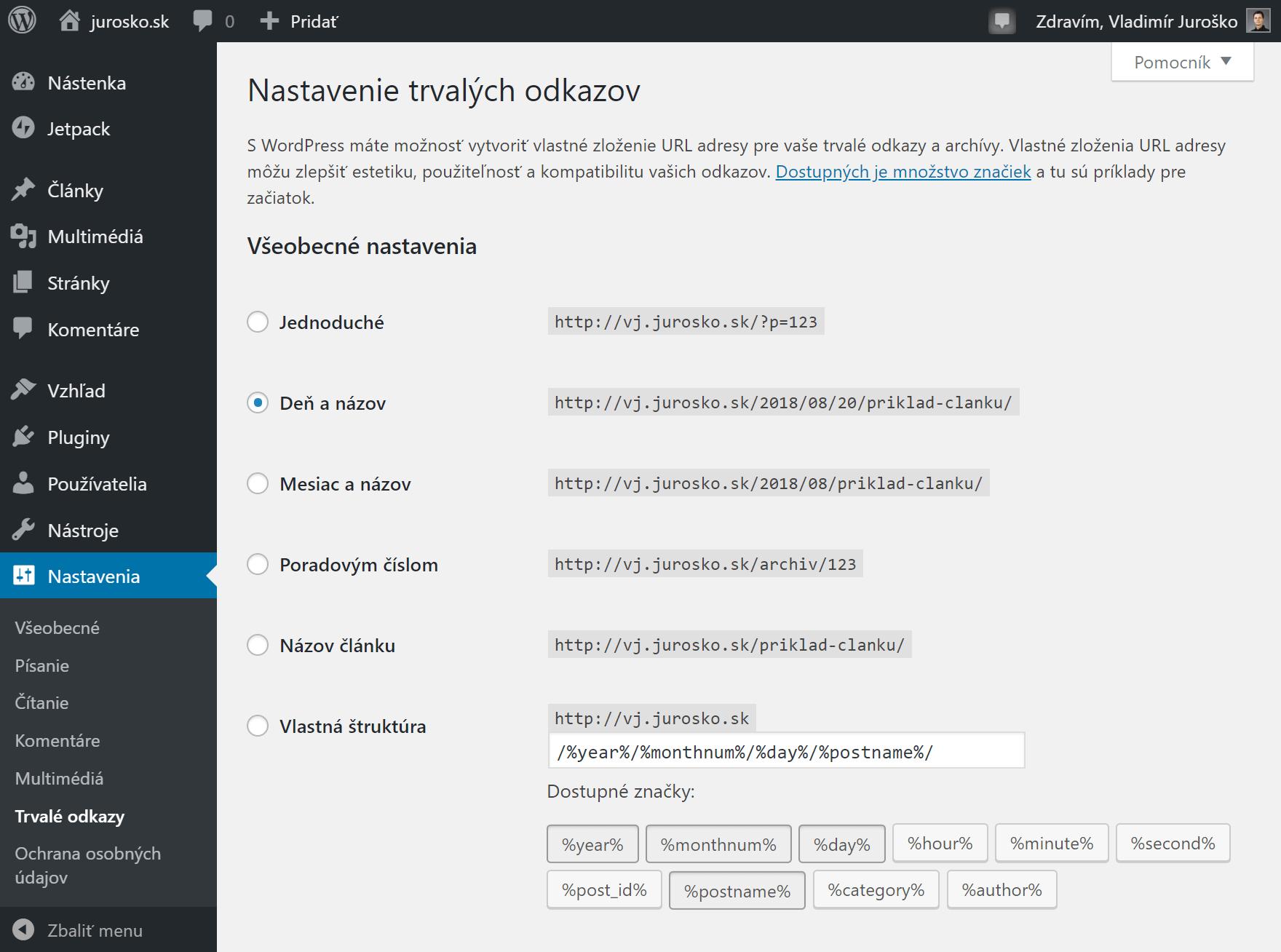 WordPress nastavenie trvalých odkazov