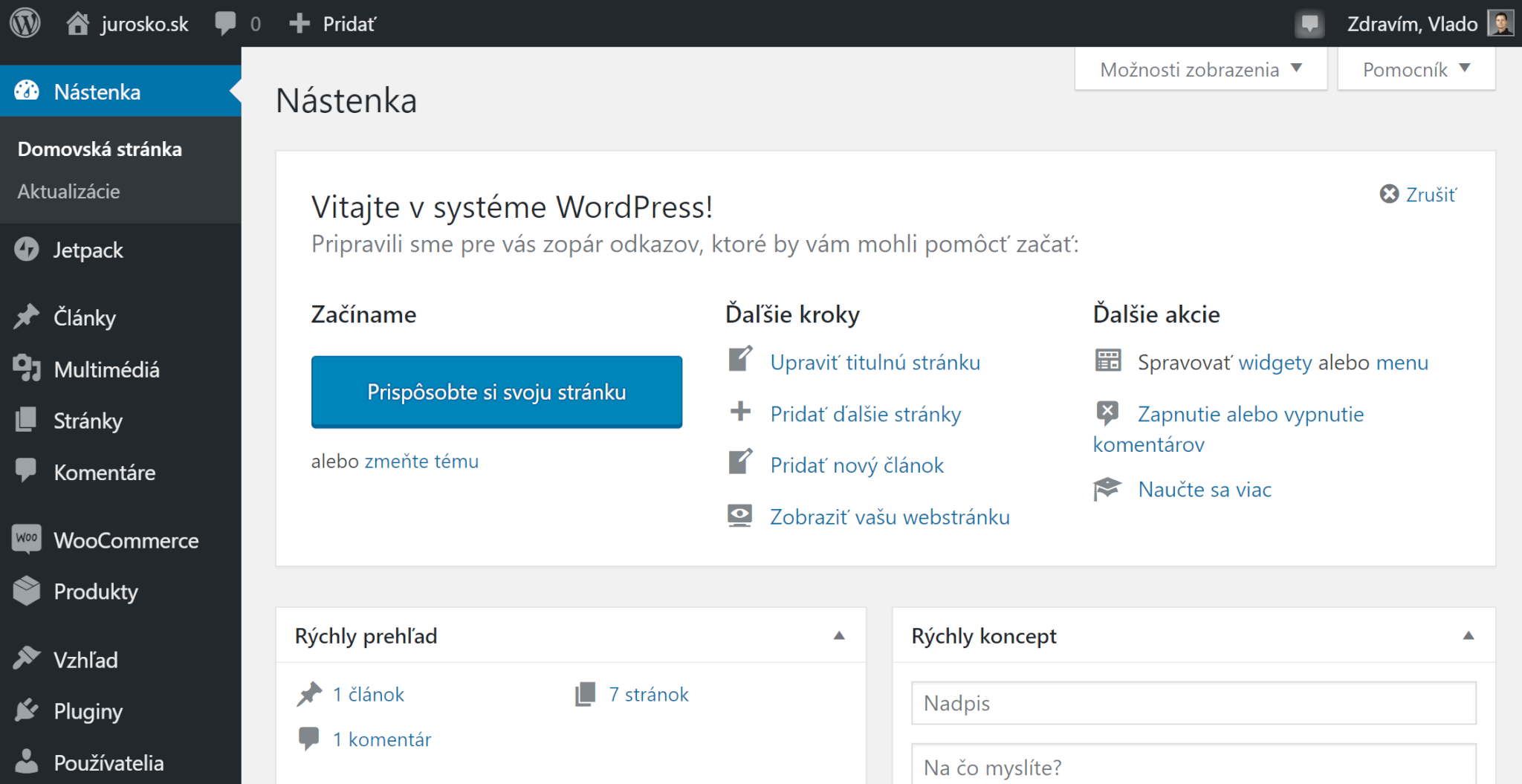WordPress nástenka