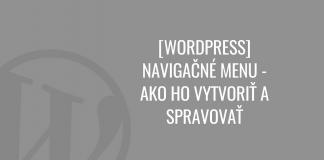 WordPress navigačné menu