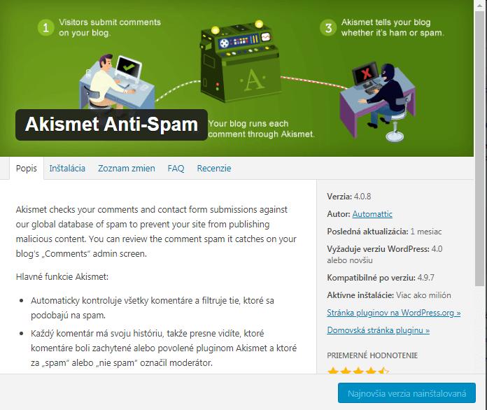 WordPress podrobnosti pluginu