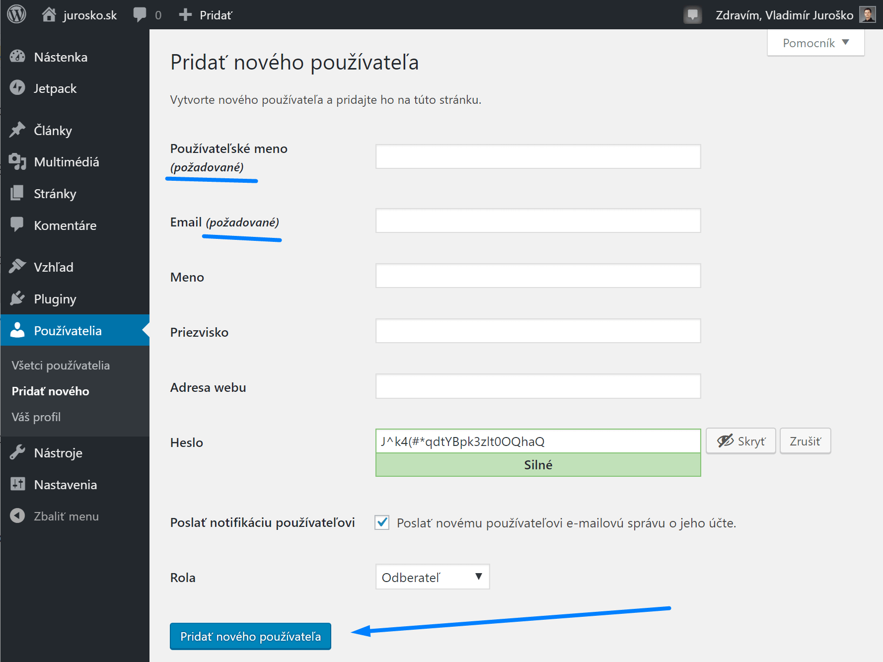 WordPress: Pridanie nového používateľa
