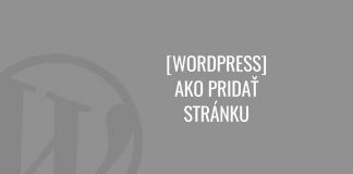 Ako pridať stránku vo WordPress