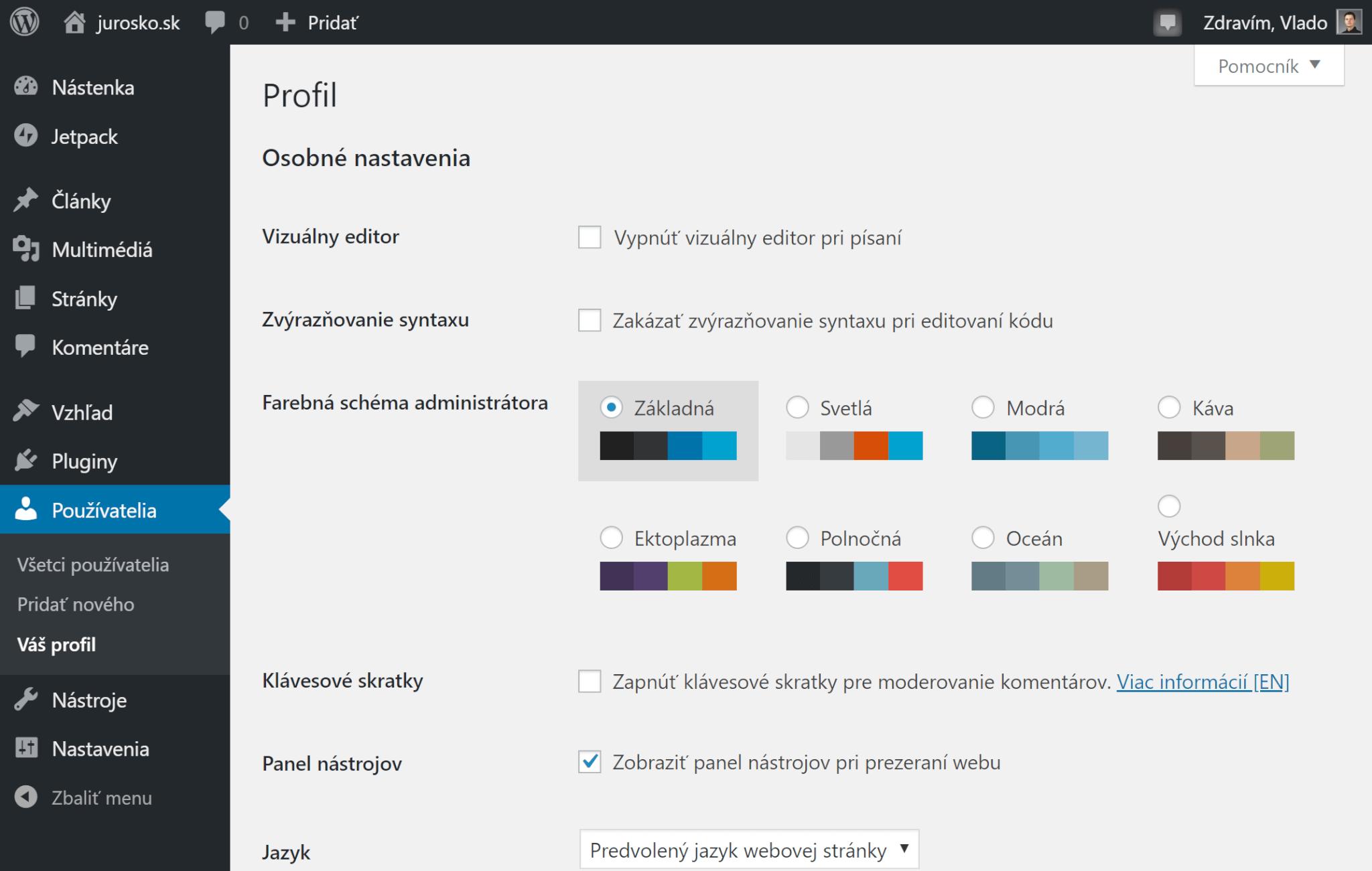Úprava profilu používateľa