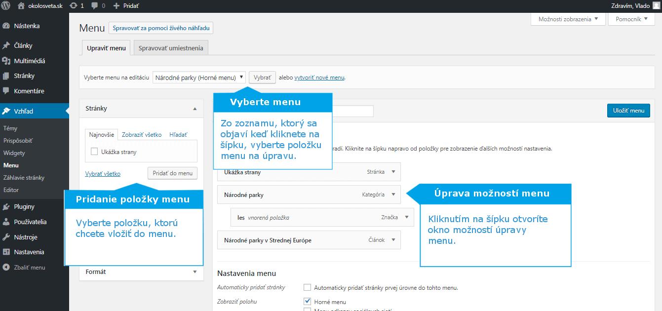 WordPress úprava menu