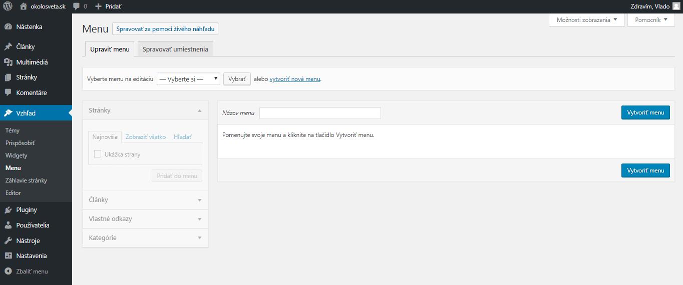 WordPress vytvorenie menu