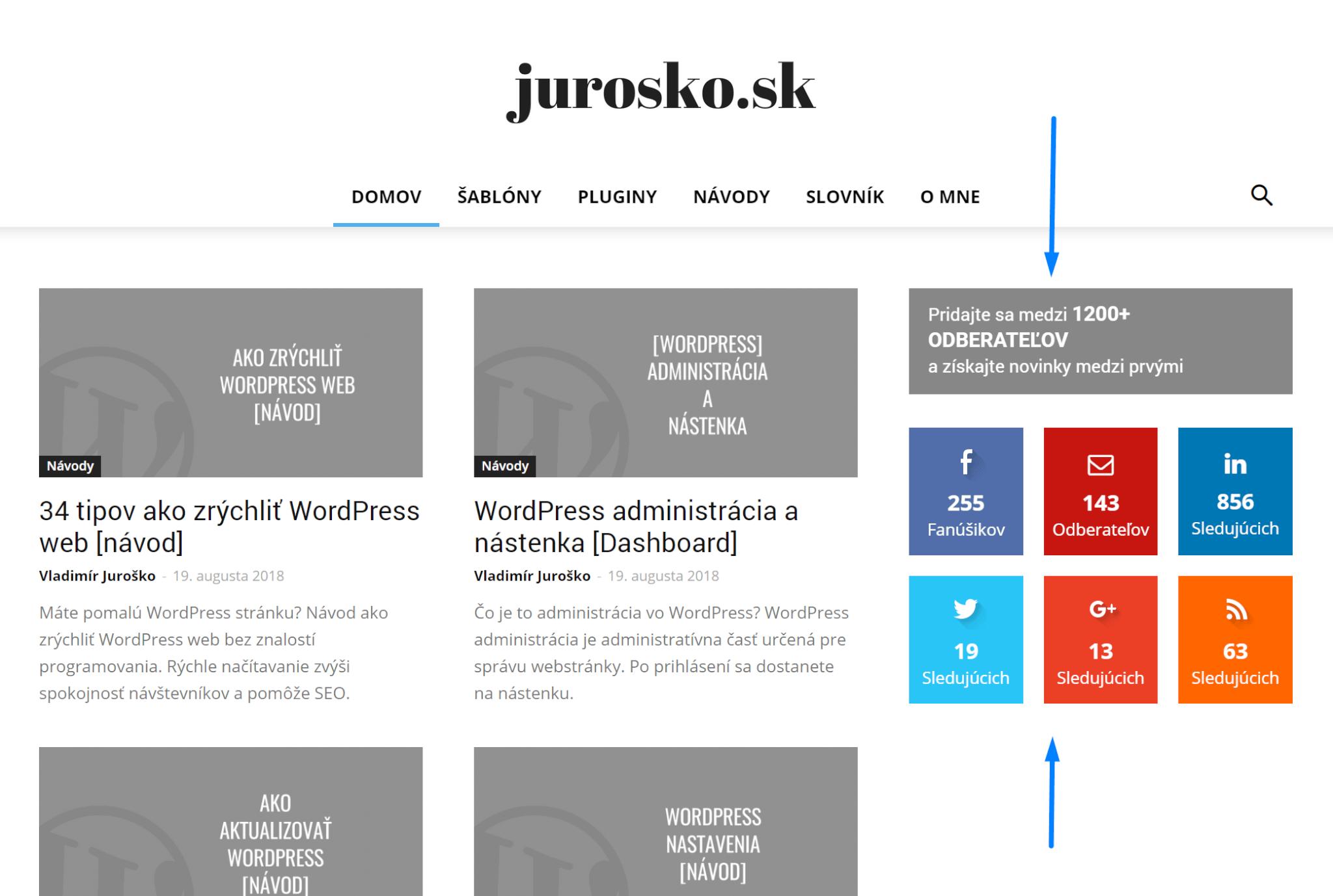 WordPress widgety ukážka použitia