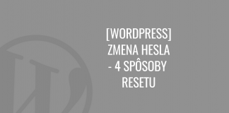 WordPress zmena hesla (reset)