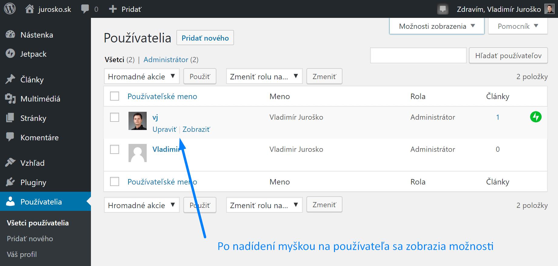 Zoznam používateľov vo WordPress