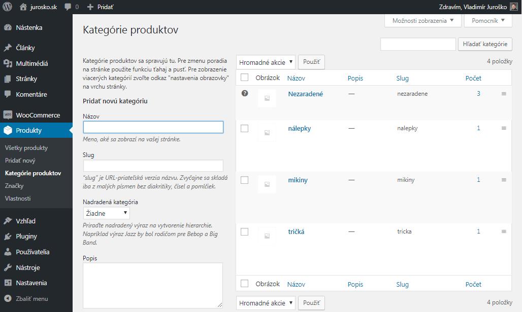WooCommerce zoznam kategórií produktov