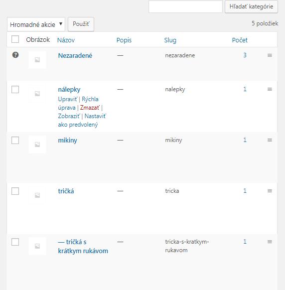 WooCommerce zoznam kategórií
