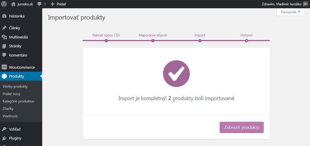 WooCommerce import produktov