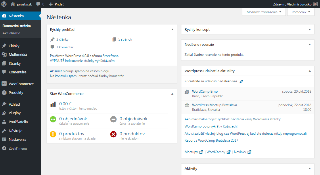 WordPress nástenka