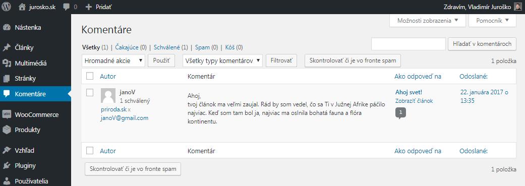 WordPress zoznam komentárov