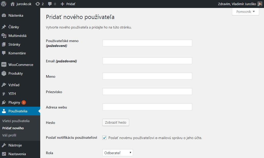 Pridanie používateľa