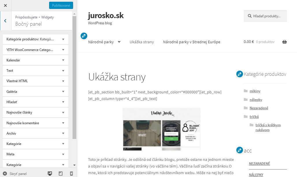 WordPress bočný panel