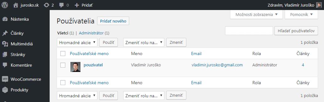 Zoznam používateľov