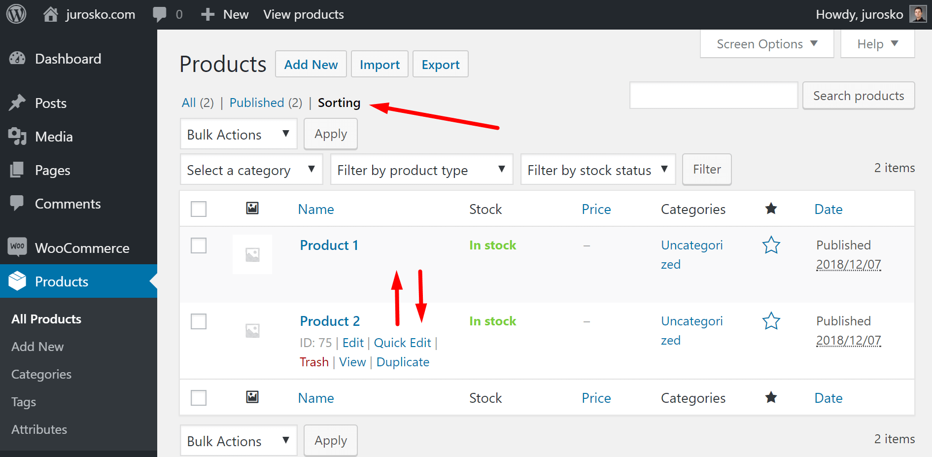 woocommerce products sorting