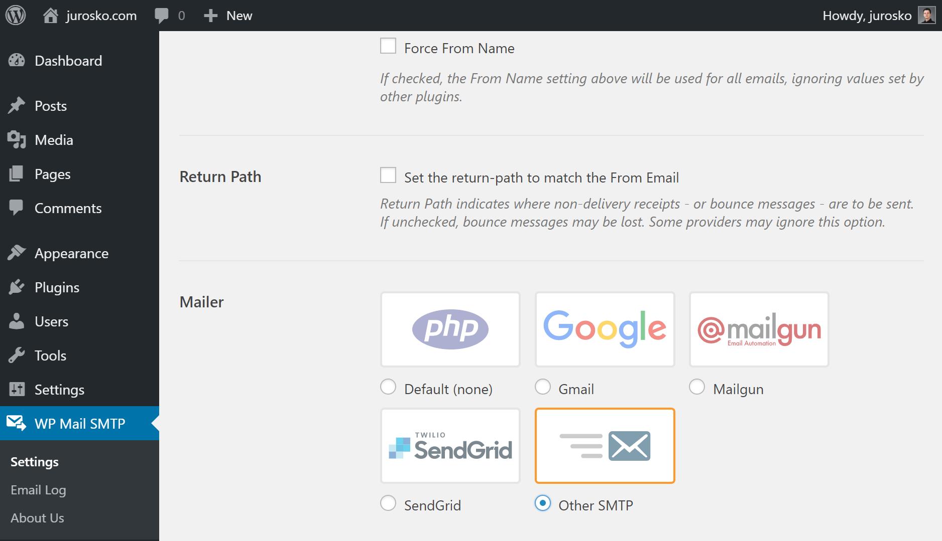 WP mail nastavenia