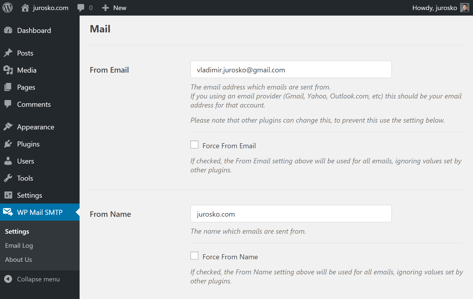 WP mail SMTP nastavenia