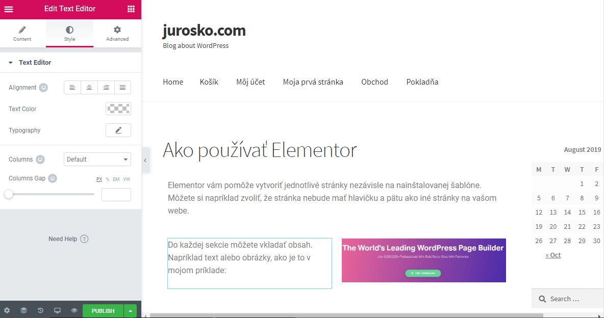 Elementor customization options