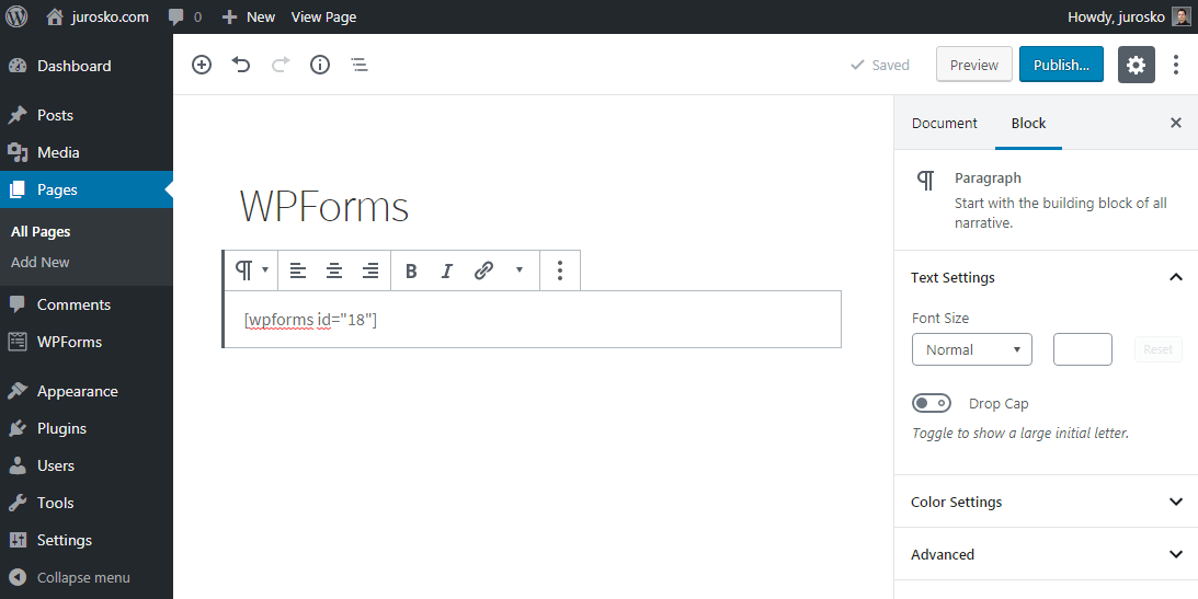 WPForms Insert Shortcode