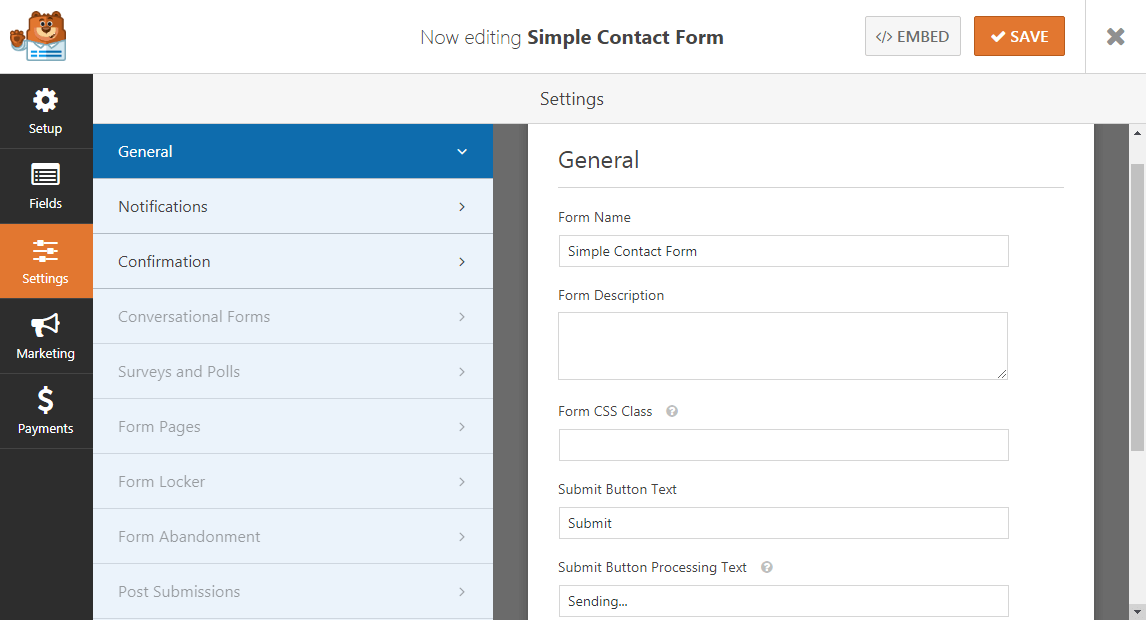WPForms Settings General