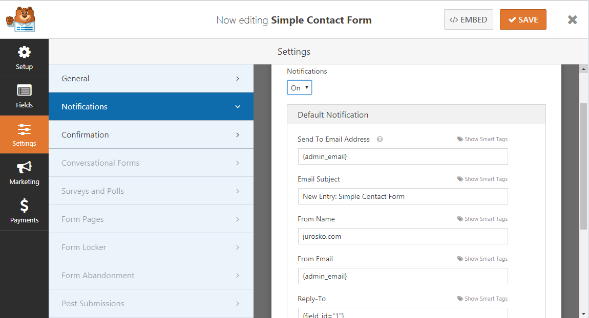 WPForms Settings Notifications