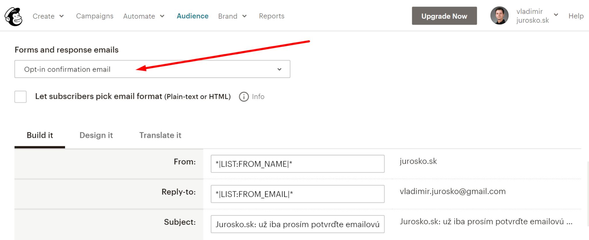 Preklad potvrdzujúceho emailu v Mailchimp