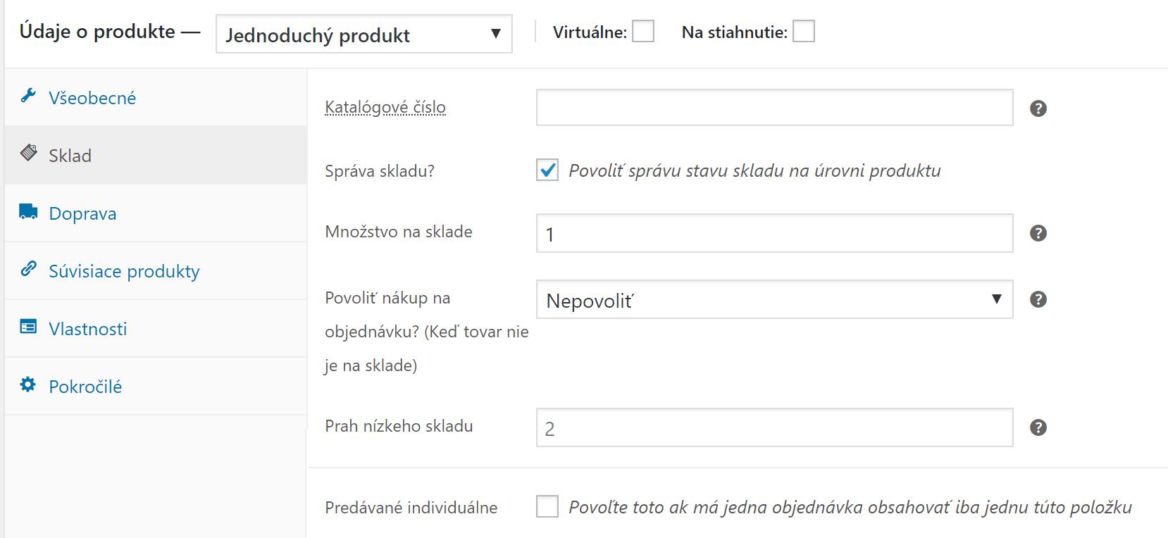 Správa skladu na úrovni produktu