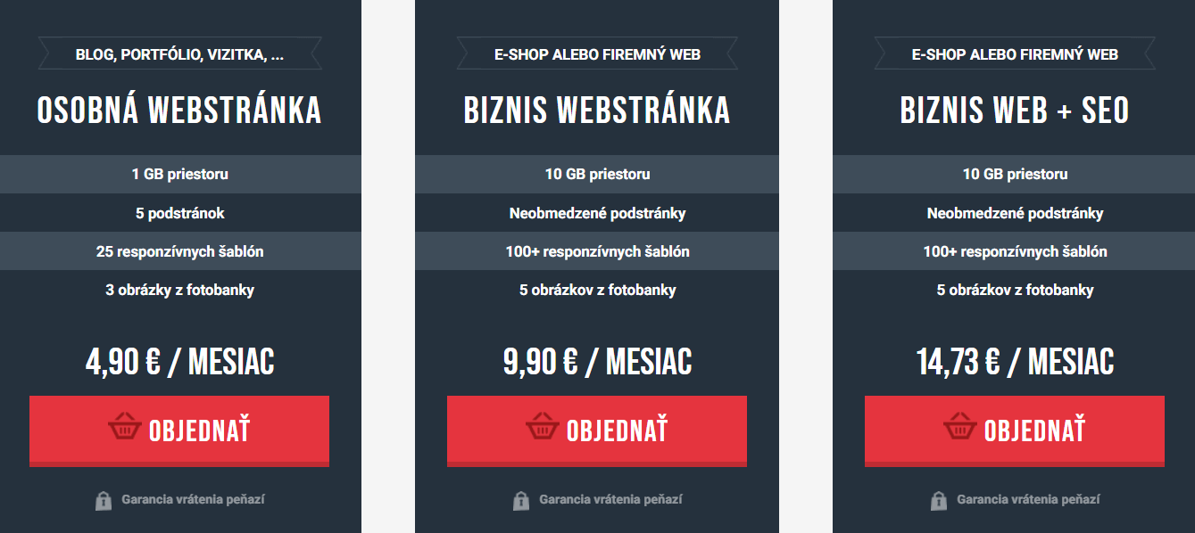 WebSupport balíčky služieb