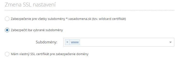 SSL certifikát iný registrátor domény