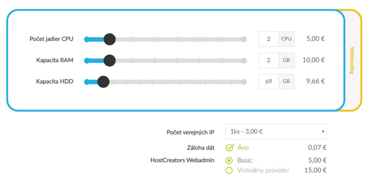 HostCreators Virtuálny server cena