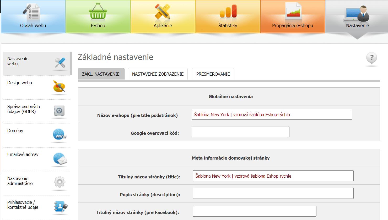 e-shop rychlo nastavenie webu