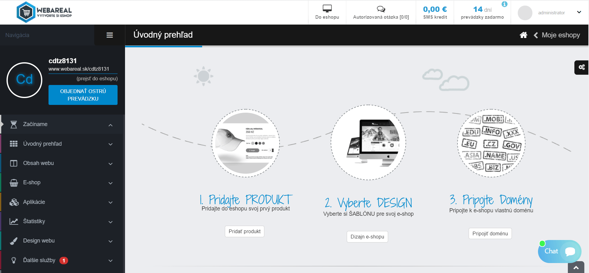 úvodná stránka pridanie produktu