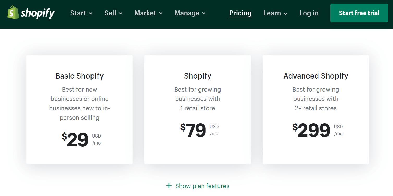 Cenové balíčky Shopify