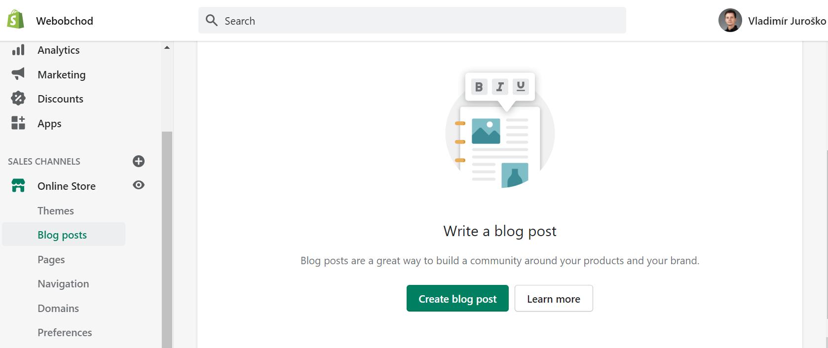 Pridanie článku na blog